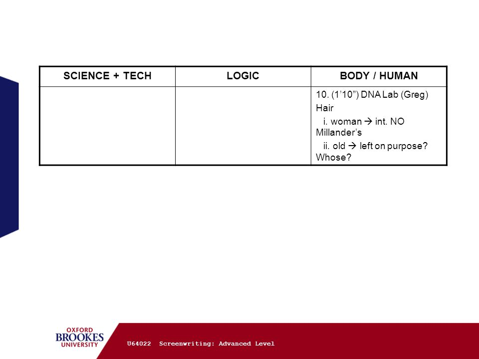 U64022 Screenwriting: Advanced Level SCIENCE + TECHLOGICBODY / HUMAN 10.