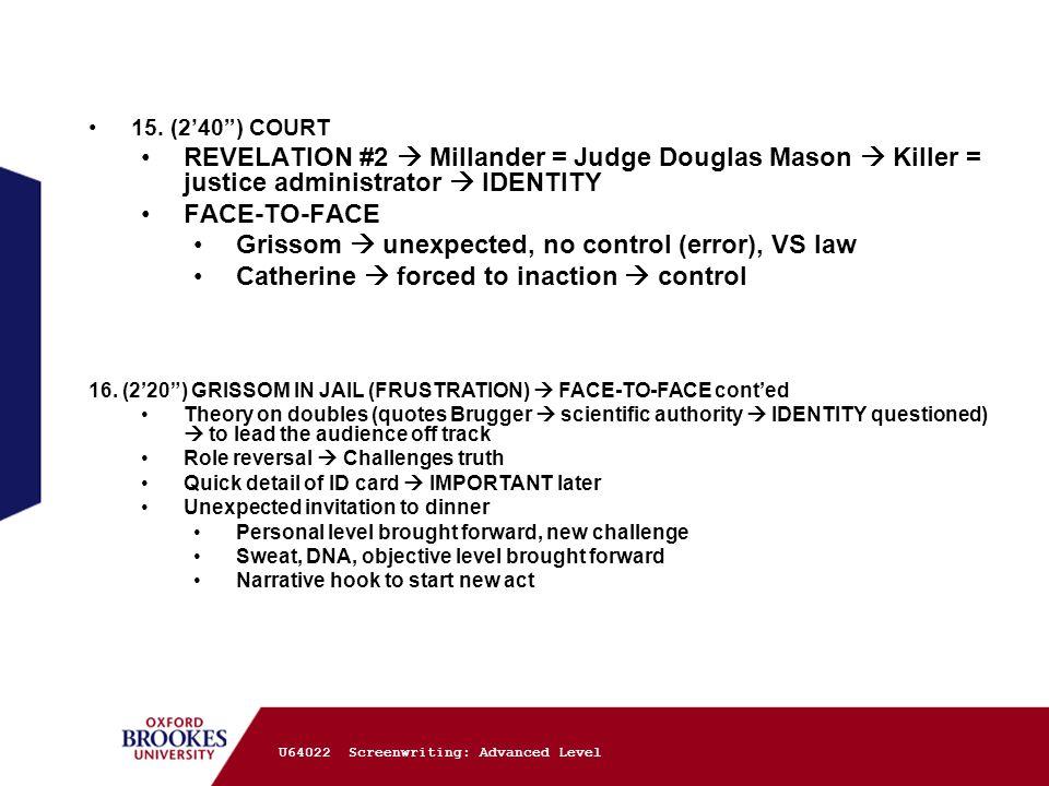 "15. (2'40"") COURT REVELATION #2  Millander = Judge Douglas Mason  Killer = justice administrator  IDENTITY FACE-TO-FACE Grissom  unexpected, no co"