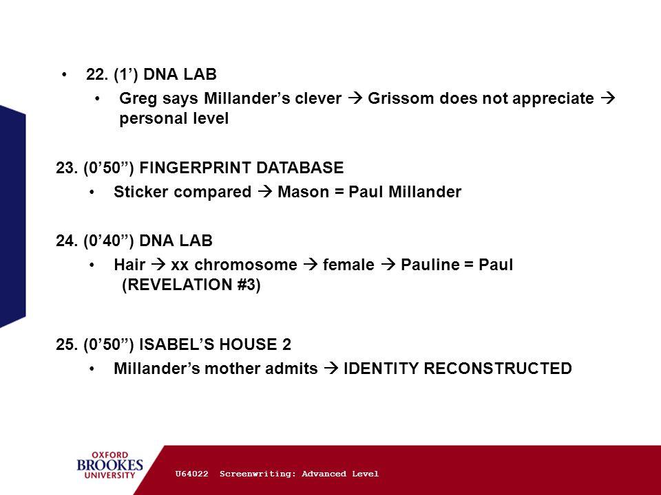 "U64022 Screenwriting: Advanced Level 22. (1') DNA LAB Greg says Millander's clever  Grissom does not appreciate  personal level 23. (0'50"") FINGERPR"