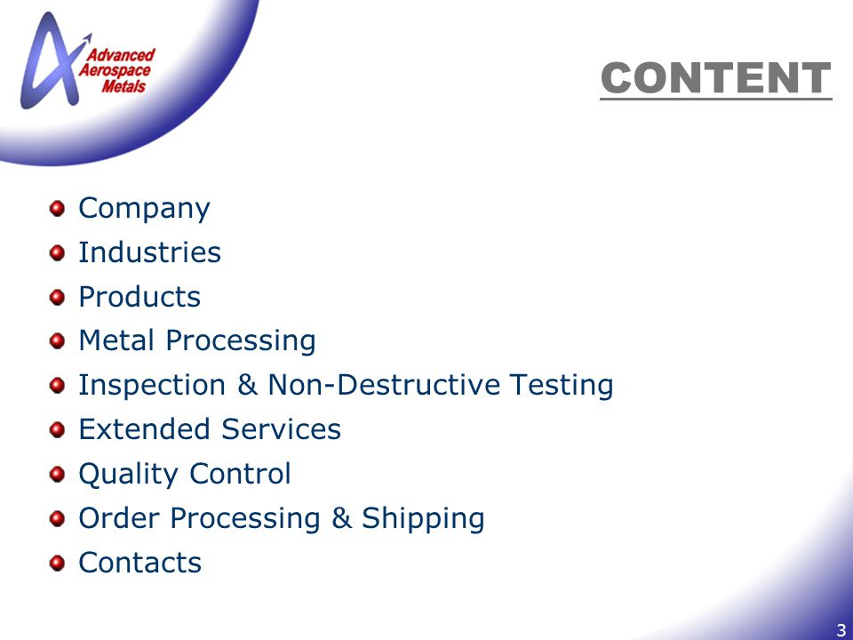 14 CONTACTS Remit to: Advanced Aerospace Metals P.O.