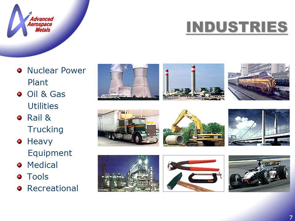 7 INDUSTRIES Nuclear Power Plant Oil & Gas Utilities Rail & Trucking Heavy Equipment Medical Tools Recreational