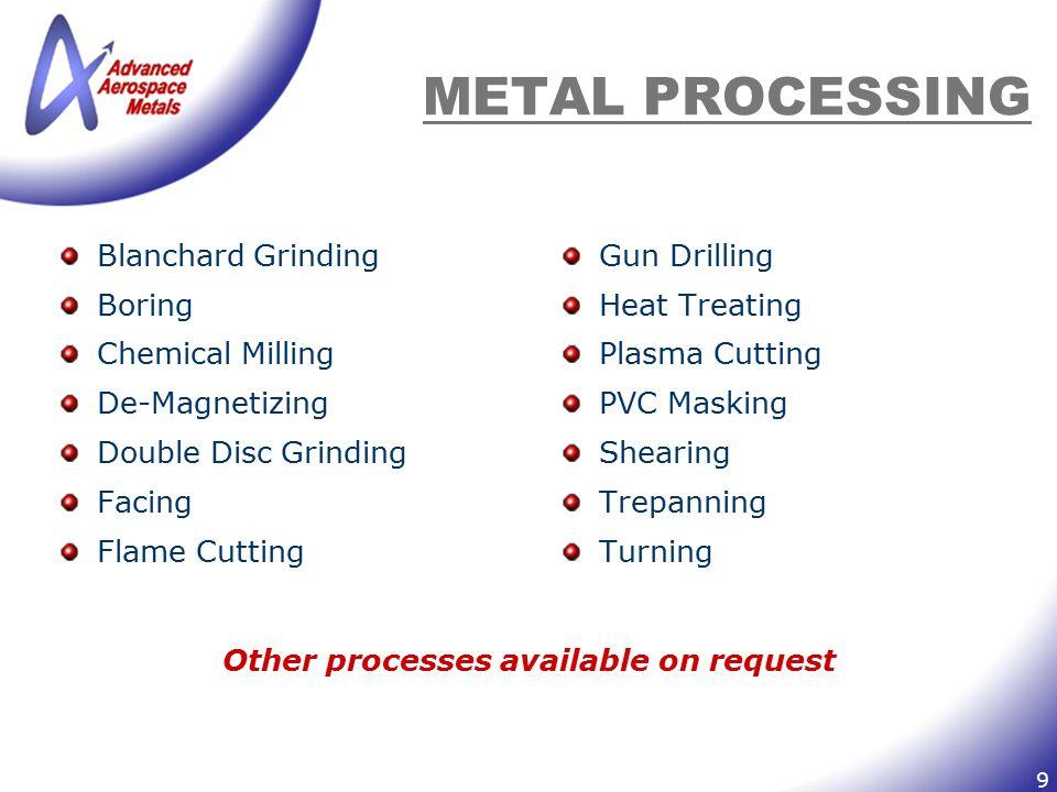 9 METAL PROCESSING Blanchard Grinding Boring Chemical Milling De-Magnetizing Double Disc Grinding Facing Flame Cutting Gun Drilling Heat Treating Plas