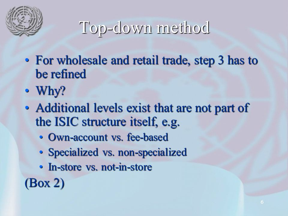 6 Top-down method For wholesale and retail trade, step 3 has to be refinedFor wholesale and retail trade, step 3 has to be refined Why Why.