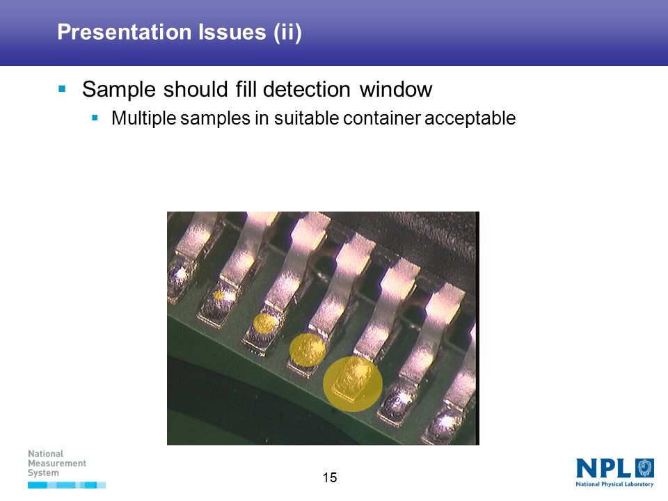 15 Presentation Issues (ii)  Sample should fill detection window  Multiple samples in suitable container acceptable