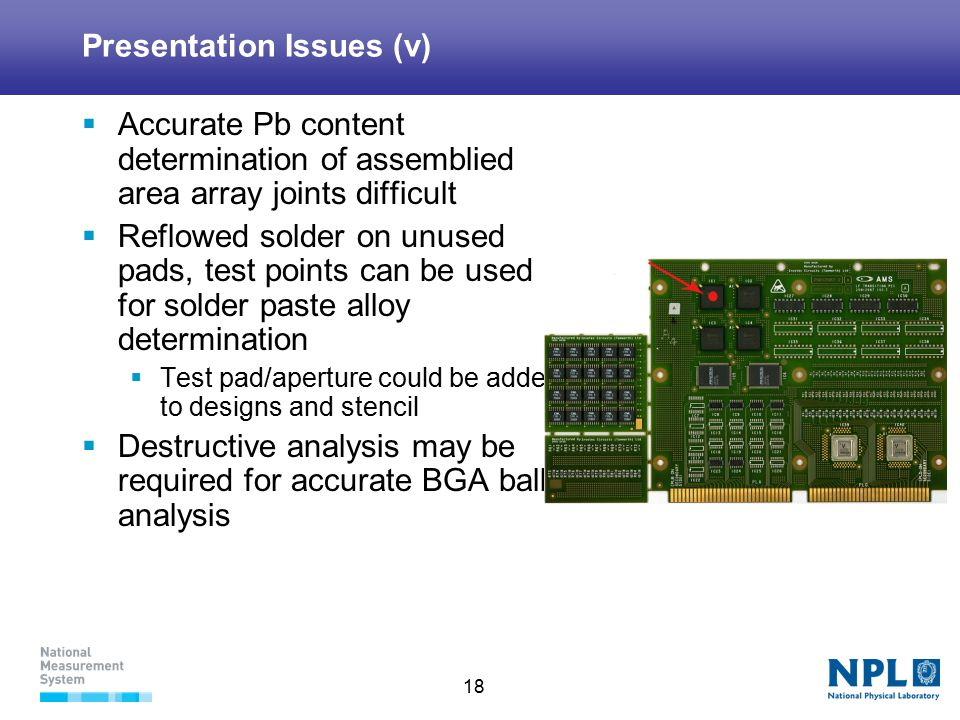 18 Presentation Issues (v)  Accurate Pb content determination of assemblied area array joints difficult  Reflowed solder on unused pads, test points can be used for solder paste alloy determination  Test pad/aperture could be added to designs and stencil  Destructive analysis may be required for accurate BGA ball analysis