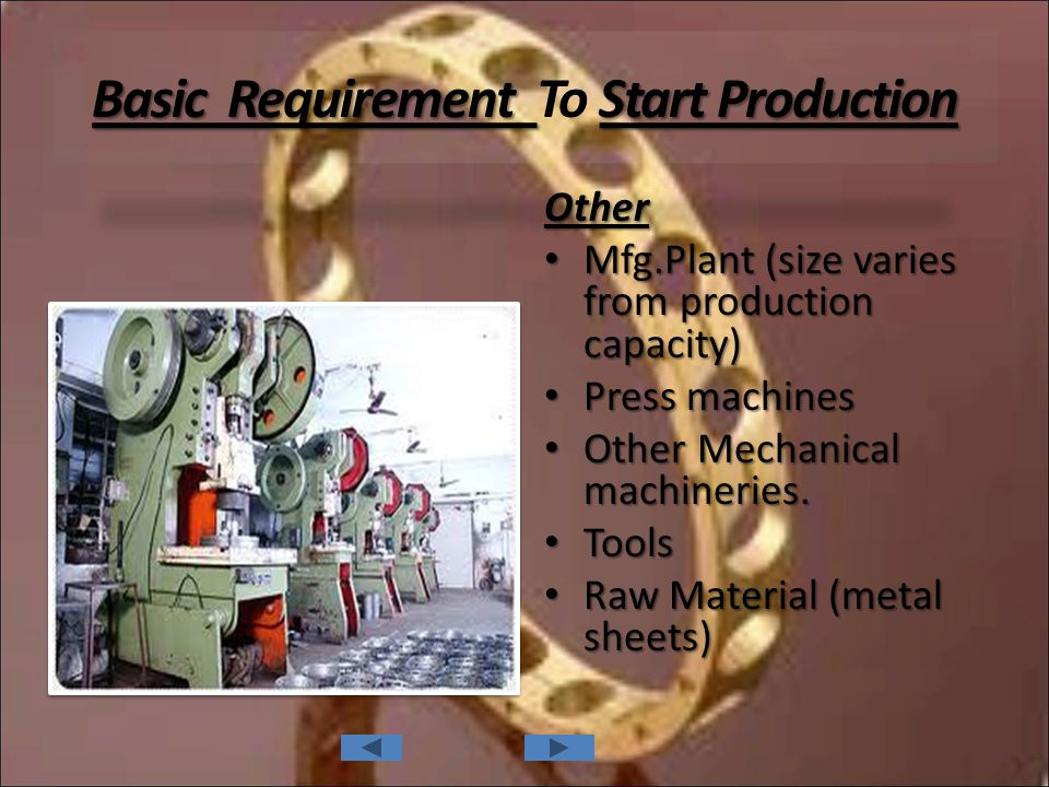 Basic Requirement Start Production Basic Requirement To Start Production Other Mfg.Plant (size varies from production capacity) Mfg.Plant (size varies from production capacity) Press machines Press machines Other Mechanical machineries.