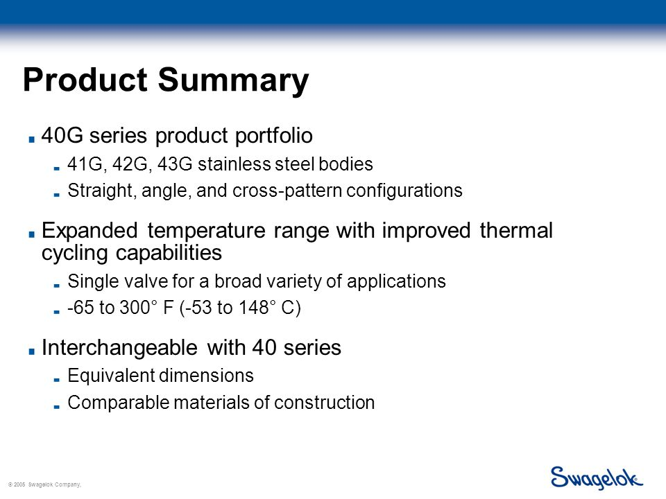 © 2005 Swagelok Company, Product Summary 40G series product portfolio 41G, 42G, 43G stainless steel bodies Straight, angle, and cross-pattern configurations Expanded temperature range with improved thermal cycling capabilities Single valve for a broad variety of applications -65 to 300° F (-53 to 148° C) Interchangeable with 40 series Equivalent dimensions Comparable materials of construction