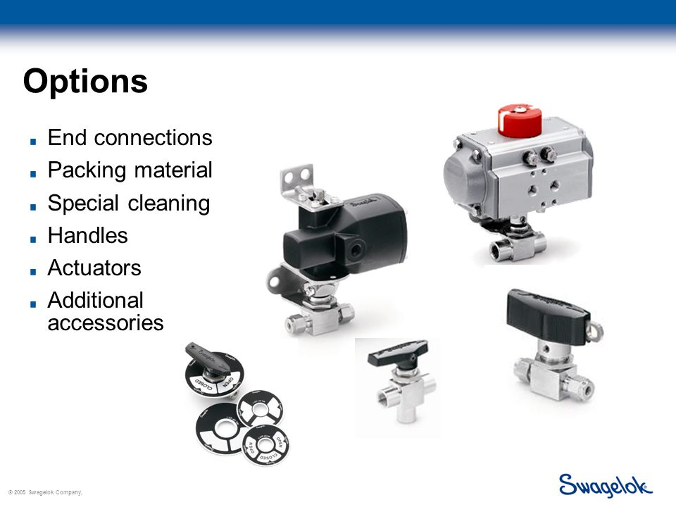 © 2005 Swagelok Company, Options End connections Packing material Special cleaning Handles Actuators Additional accessories