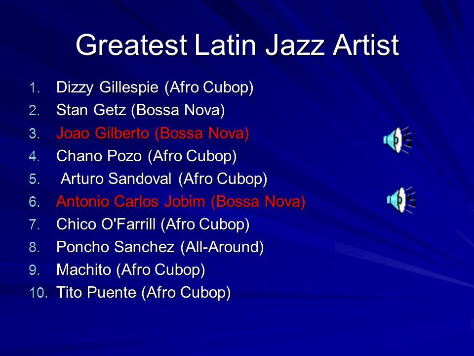 Greatest Latin Jazz Artist 1. Dizzy Gillespie (Afro Cubop) 2.