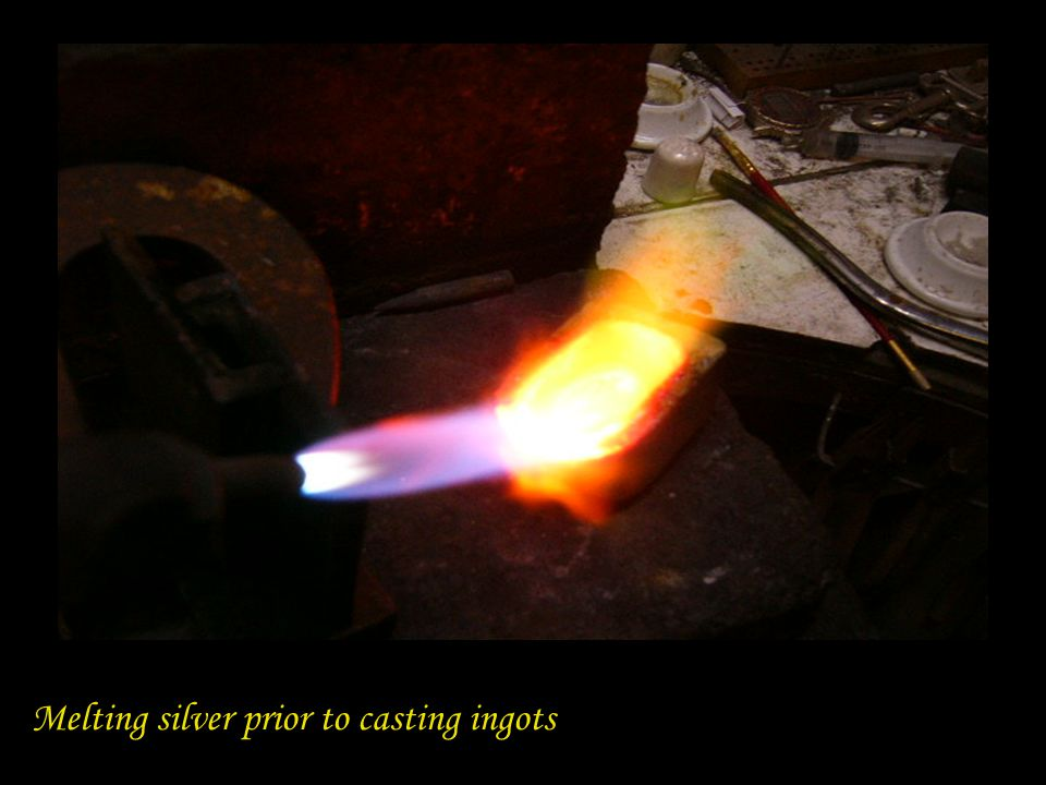Melting silver prior to casting ingots