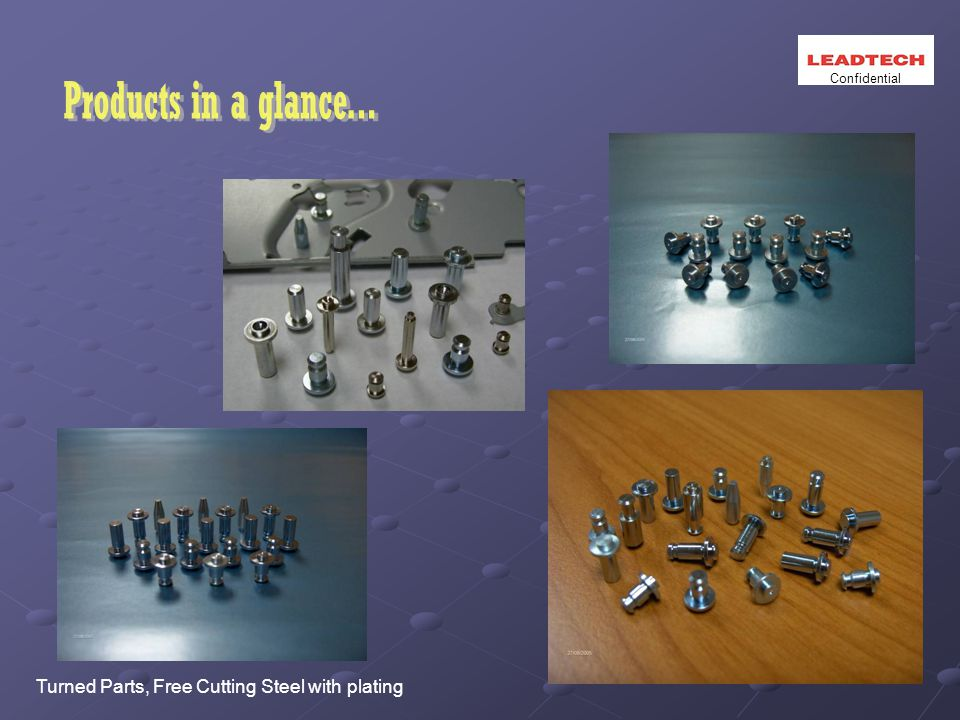 Turned Parts, Free Cutting Steel with plating Confidential