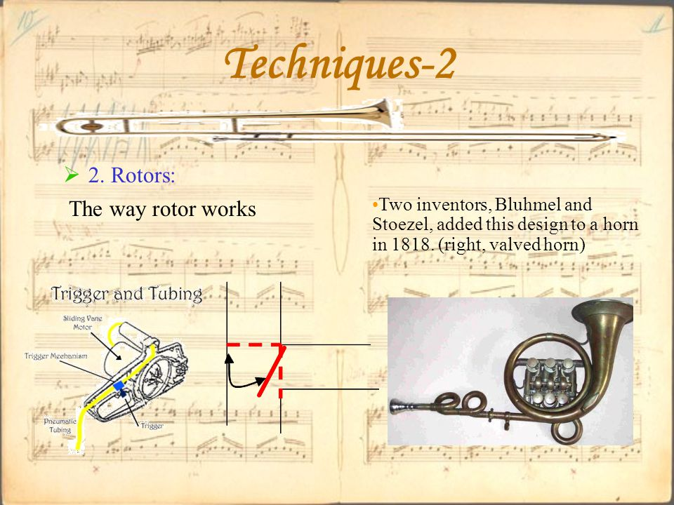  2. Rotors: Techniques-2 The way rotor works Two inventors, Bluhmel and Stoezel, added this design to a horn in 1818. (right, valved horn)
