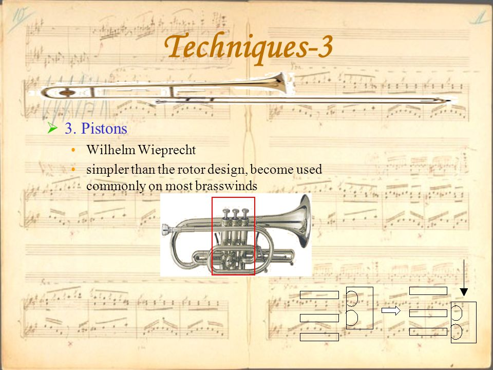 Techniques-3  3. Pistons Wilhelm Wieprecht simpler than the rotor design, become used commonly on most brasswinds