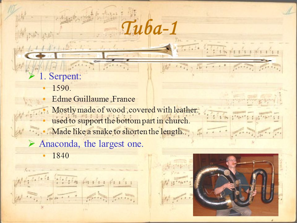 Tuba-1  1. Serpent: 1590. Edme Guillaume,France Mostly made of wood,covered with leather.
