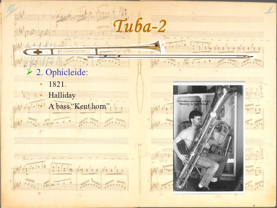 """Tuba-2  2. Ophicleide: 1821. Halliday A bass """"Kent horn"""""""