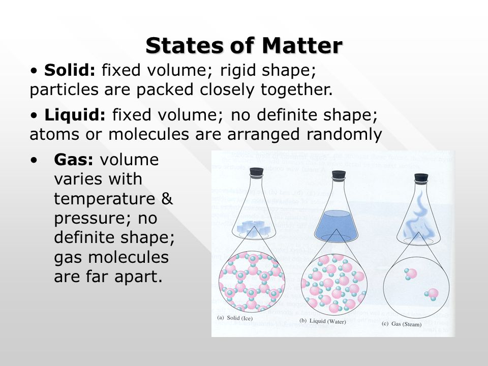 States of Matter Gas: volume varies with temperature & pressure; no definite shape; gas molecules are far apart. Solid: fixed volume; rigid shape; par