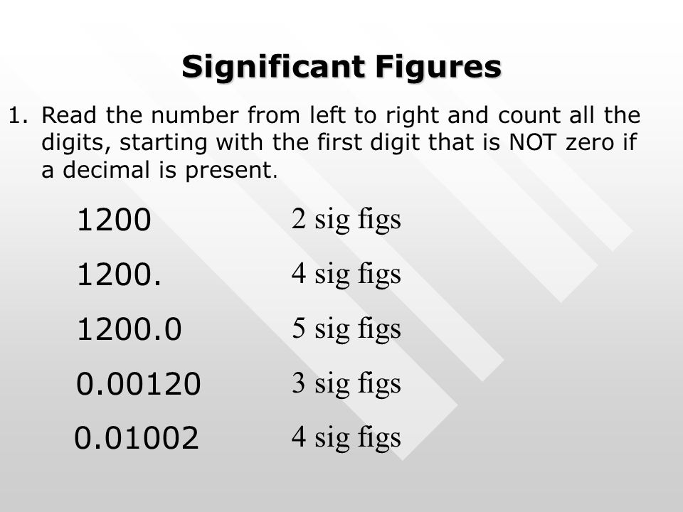 Significant Figures 1.Read the number from left to right and count all the digits, starting with the first digit that is NOT zero if a decimal is pres