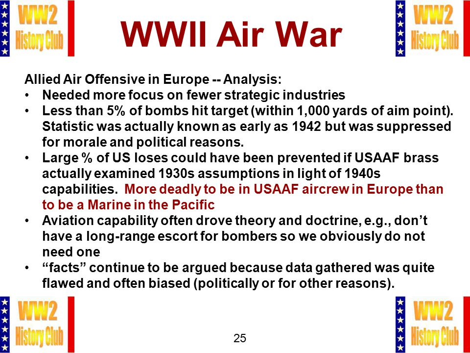 25 WWII Air War Allied Air Offensive in Europe -- Analysis: Needed more focus on fewer strategic industries Less than 5% of bombs hit target (within 1,000 yards of aim point).