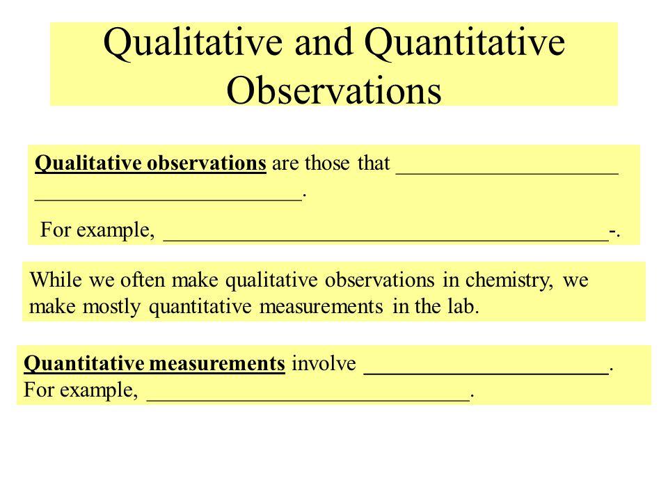 Qualitative and Quantitative Observations Qualitative observations are those that ____________________ ________________________. For example, ________