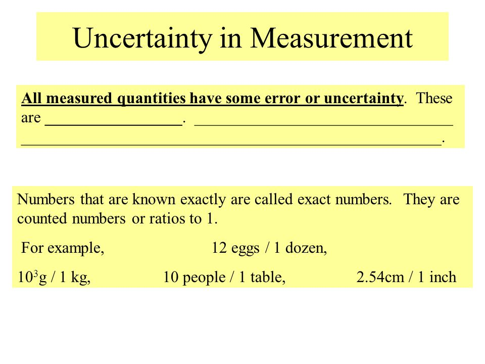 Uncertainty in Measurement All measured quantities have some error or uncertainty. These are _________________. ________________________________ _____