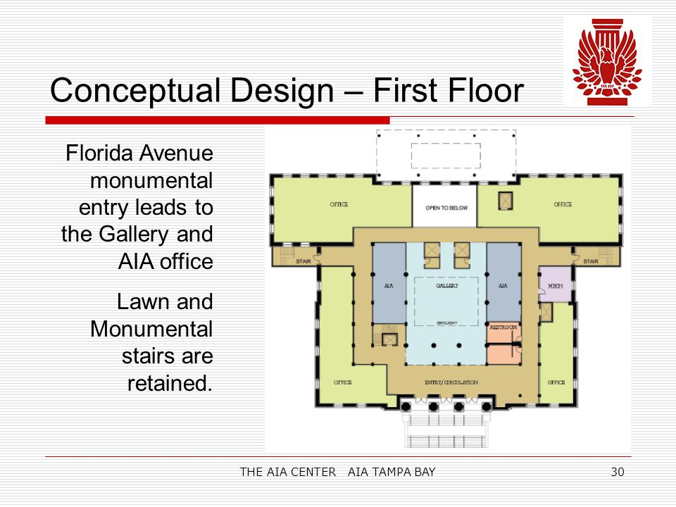 THE AIA CENTER AIA TAMPA BAY30 Conceptual Design – First Floor Florida Avenue monumental entry leads to the Gallery and AIA office Lawn and Monumental stairs are retained.