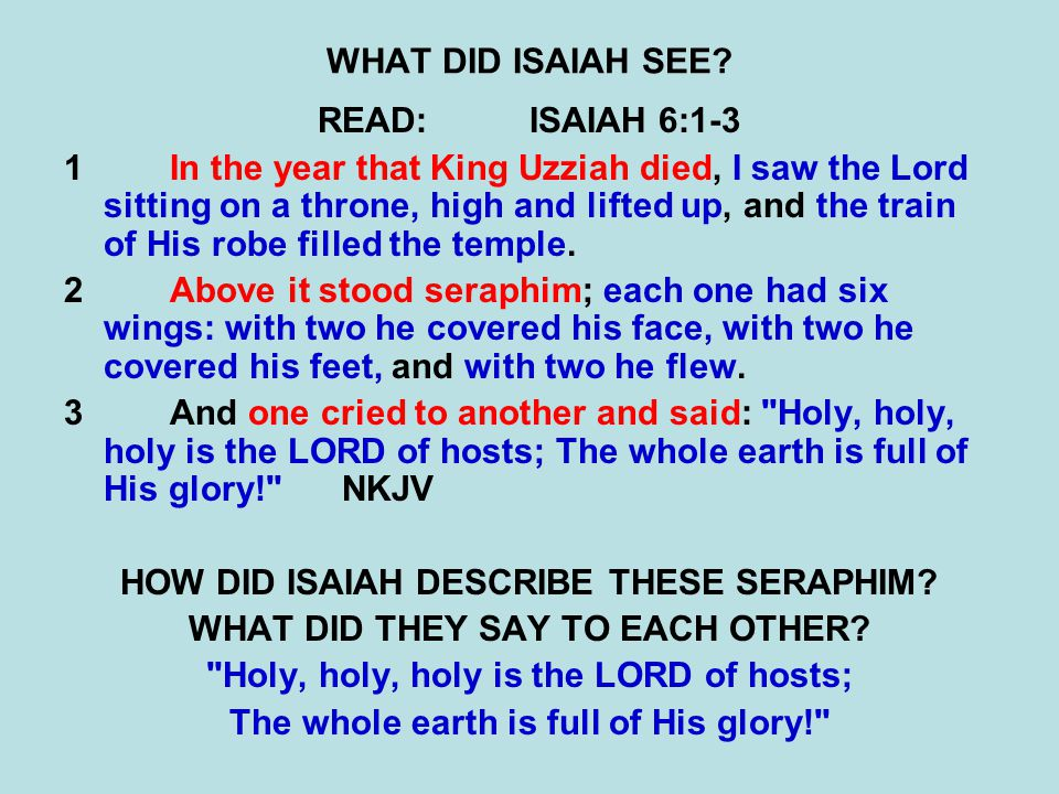 WHAT DID ISAIAH SEE? READ:ISAIAH 6:1-3 1In the year that King Uzziah died, I saw the Lord sitting on a throne, high and lifted up, and the train of Hi