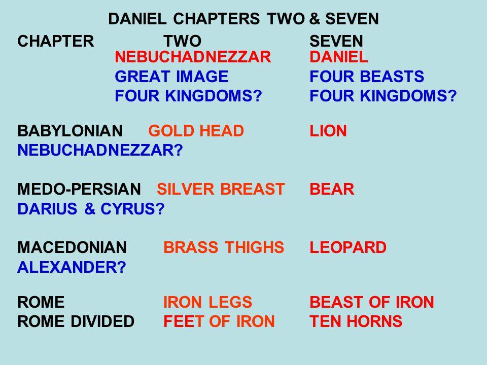 DANIEL CHAPTERS TWO & SEVEN CHAPTER TWO SEVEN NEBUCHADNEZZARDANIEL GREAT IMAGEFOUR BEASTS FOUR KINGDOMS?FOUR KINGDOMS? BABYLONIAN GOLD HEAD LION NEBUC