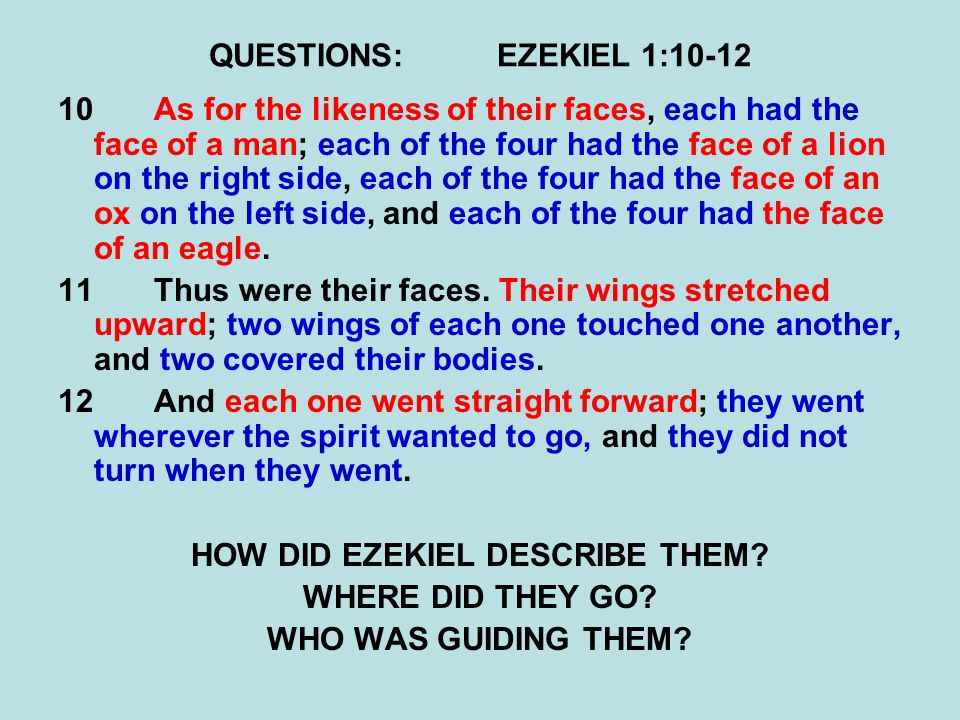 QUESTIONS:EZEKIEL 1:10-12 10As for the likeness of their faces, each had the face of a man; each of the four had the face of a lion on the right side,