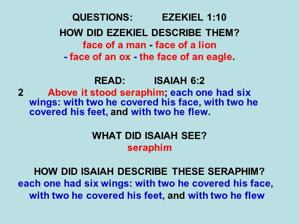 QUESTIONS:EZEKIEL 1:10 HOW DID EZEKIEL DESCRIBE THEM.