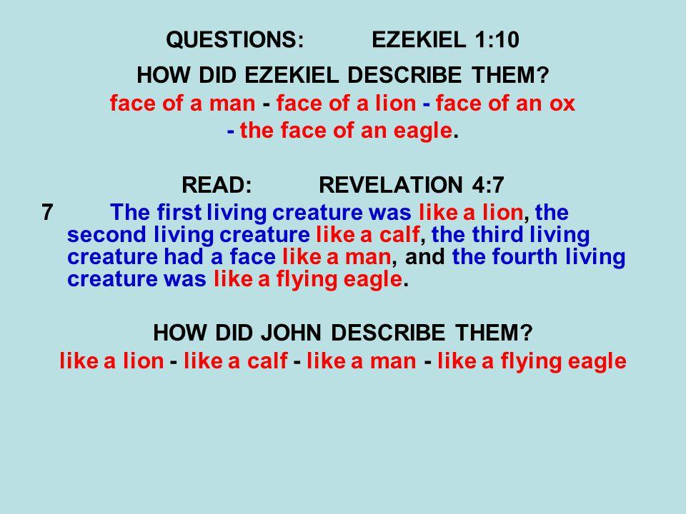 QUESTIONS:EZEKIEL 1:10 HOW DID EZEKIEL DESCRIBE THEM? face of a man - face of a lion - face of an ox - the face of an eagle. READ:REVELATION 4:7 7 The