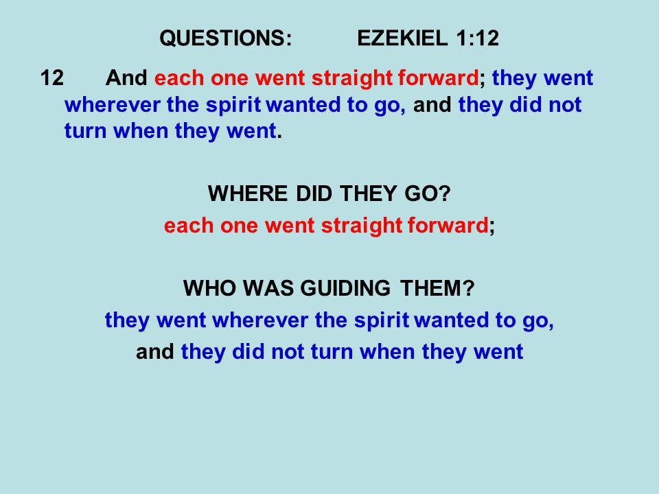 QUESTIONS:EZEKIEL 1:12 12And each one went straight forward; they went wherever the spirit wanted to go, and they did not turn when they went.