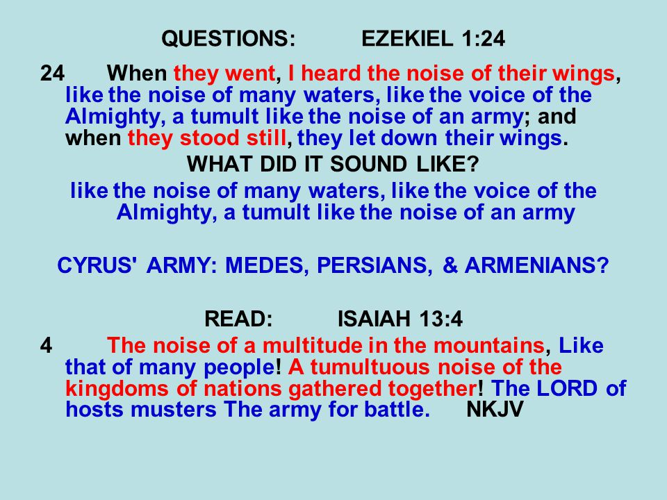 QUESTIONS:EZEKIEL 1:24 24When they went, I heard the noise of their wings, like the noise of many waters, like the voice of the Almighty, a tumult lik