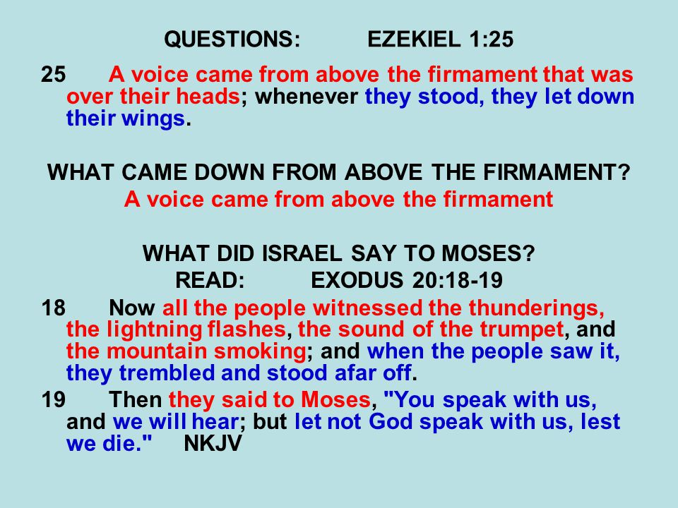 QUESTIONS:EZEKIEL 1:25 25A voice came from above the firmament that was over their heads; whenever they stood, they let down their wings.