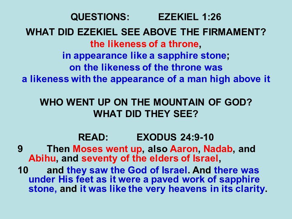 QUESTIONS:EZEKIEL 1:26 WHAT DID EZEKIEL SEE ABOVE THE FIRMAMENT.