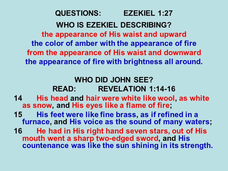 QUESTIONS:EZEKIEL 1:27 WHO IS EZEKIEL DESCRIBING.