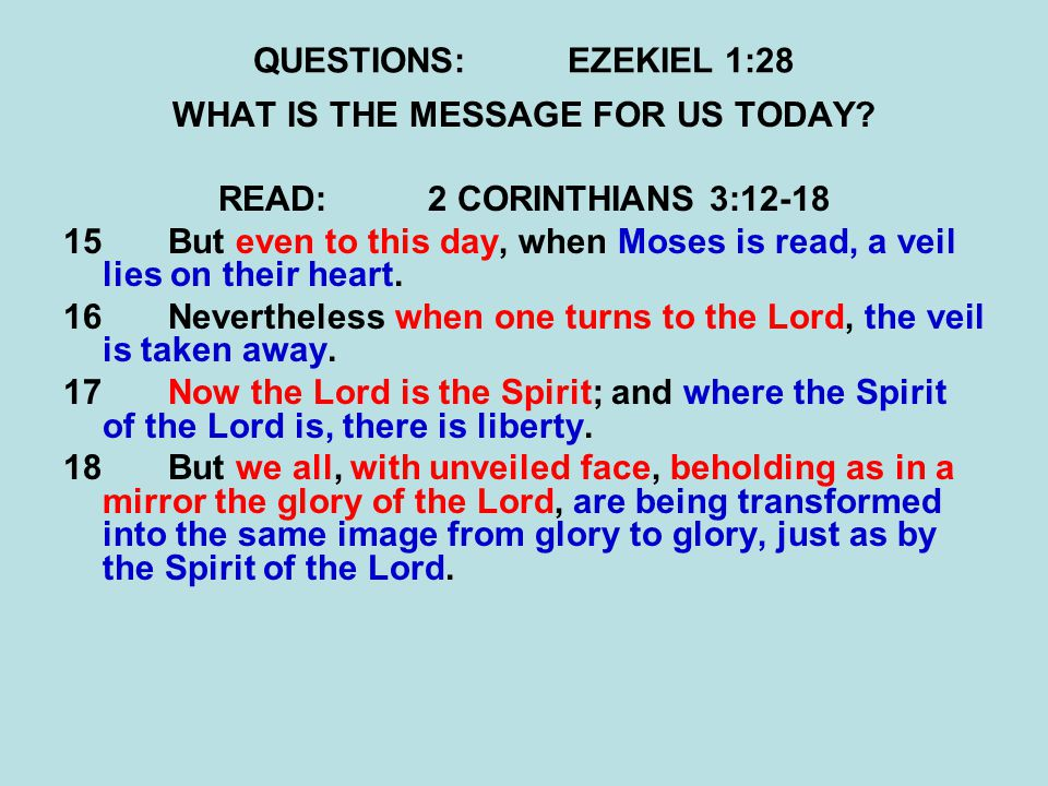 QUESTIONS:EZEKIEL 1:28 WHAT IS THE MESSAGE FOR US TODAY.