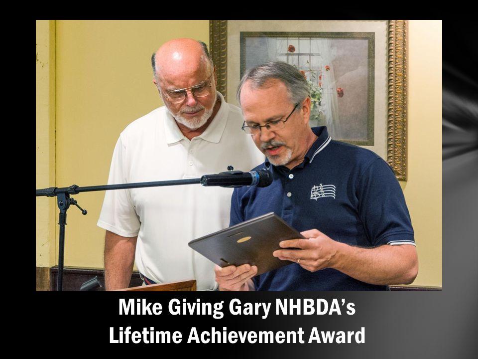 Mike Giving Gary NHBDA's Lifetime Achievement Award