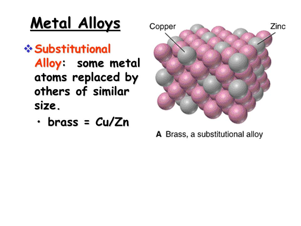Metal Alloys  Substitutional Alloy: some metal atoms replaced by others of similar size.