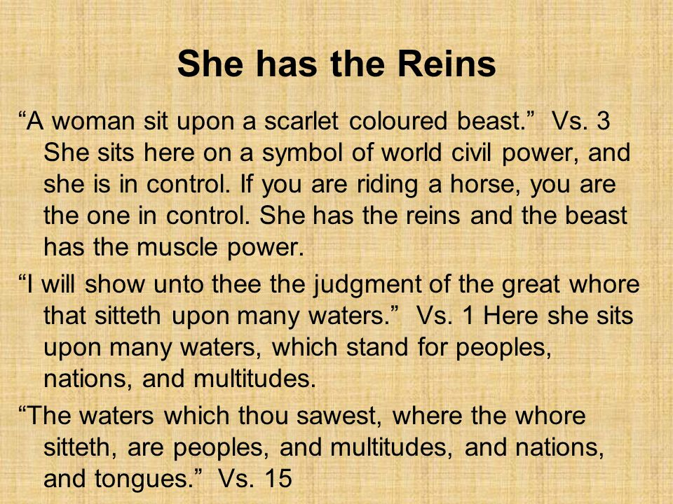 She has the Reins A woman sit upon a scarlet coloured beast. Vs.