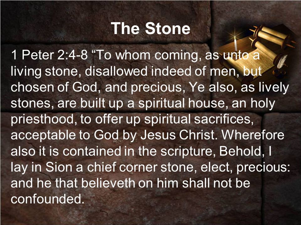 The Stone 1 Peter 2:4-8 To whom coming, as unto a living stone, disallowed indeed of men, but chosen of God, and precious, Ye also, as lively stones, are built up a spiritual house, an holy priesthood, to offer up spiritual sacrifices, acceptable to God by Jesus Christ.