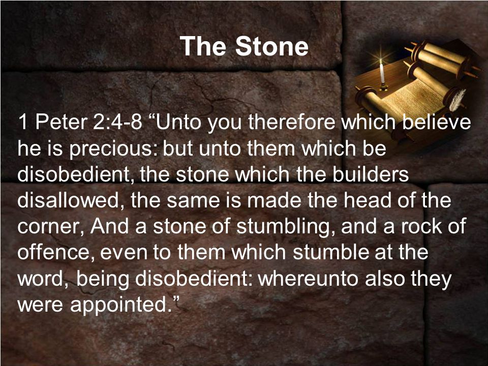 The Stone 1 Peter 2:4-8 Unto you therefore which believe he is precious: but unto them which be disobedient, the stone which the builders disallowed, the same is made the head of the corner, And a stone of stumbling, and a rock of offence, even to them which stumble at the word, being disobedient: whereunto also they were appointed.