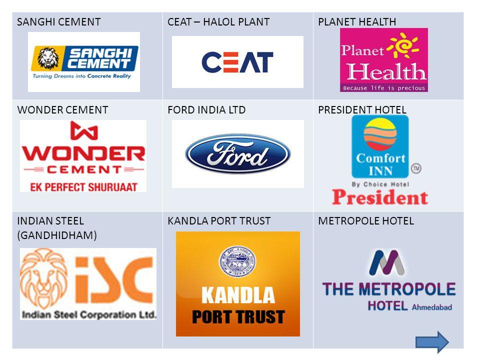 SANGHI CEMENTCEAT – HALOL PLANTPLANET HEALTH WONDER CEMENTFORD INDIA LTDPRESIDENT HOTEL INDIAN STEEL (GANDHIDHAM) KANDLA PORT TRUSTMETROPOLE HOTEL