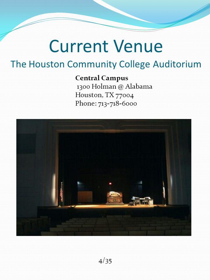 Current Venue The Houston Community College Auditorium Central Campus 1300 Holman @ Alabama Houston, TX 77004 Phone: 713-718-6000 4/35