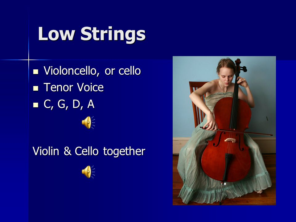 Low Strings Violoncello, or cello Violoncello, or cello Tenor Voice Tenor Voice C, G, D, A C, G, D, A Violin & Cello together