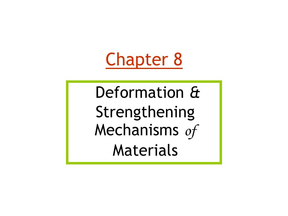 Deformation & Strengthening Mechanisms of Materials Chapter 8