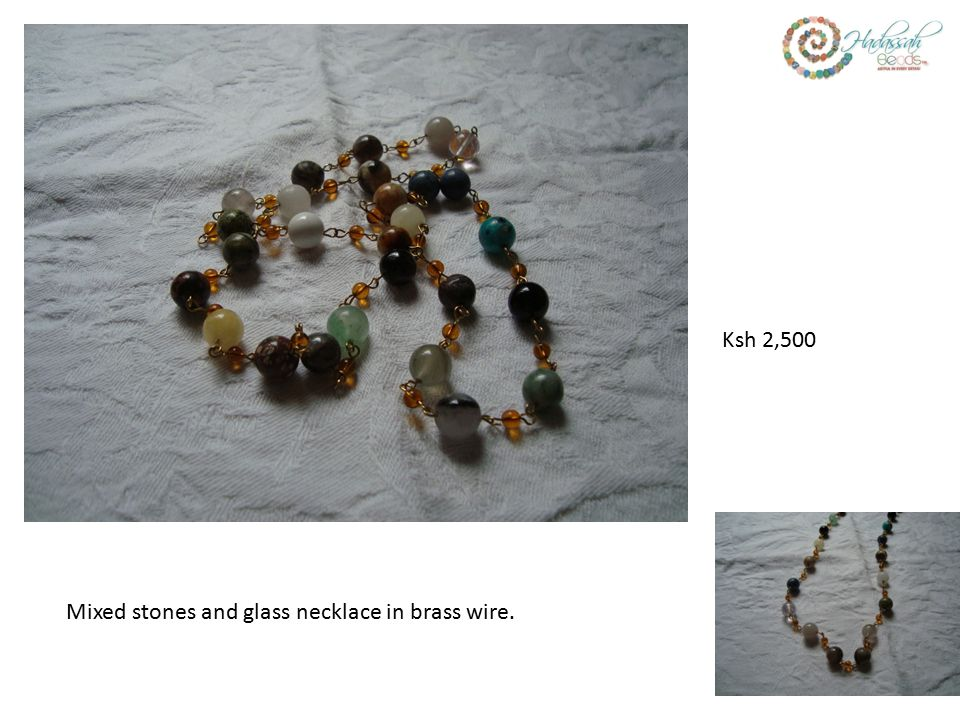 Mixed stones and glass necklace in brass wire. Ksh 2,500