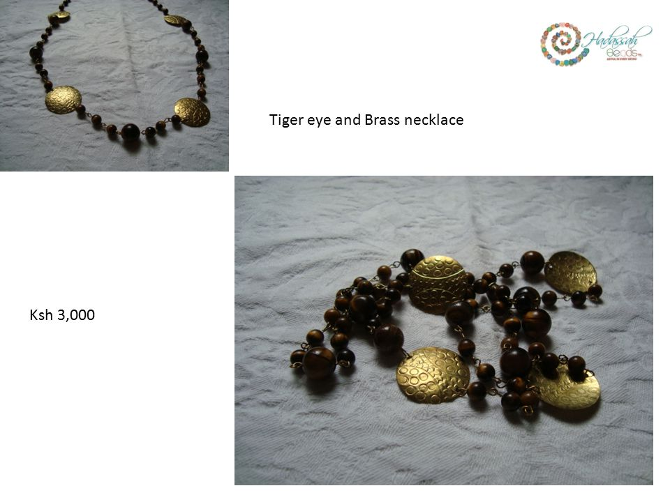Ksh 3,000 Tiger eye and Brass necklace