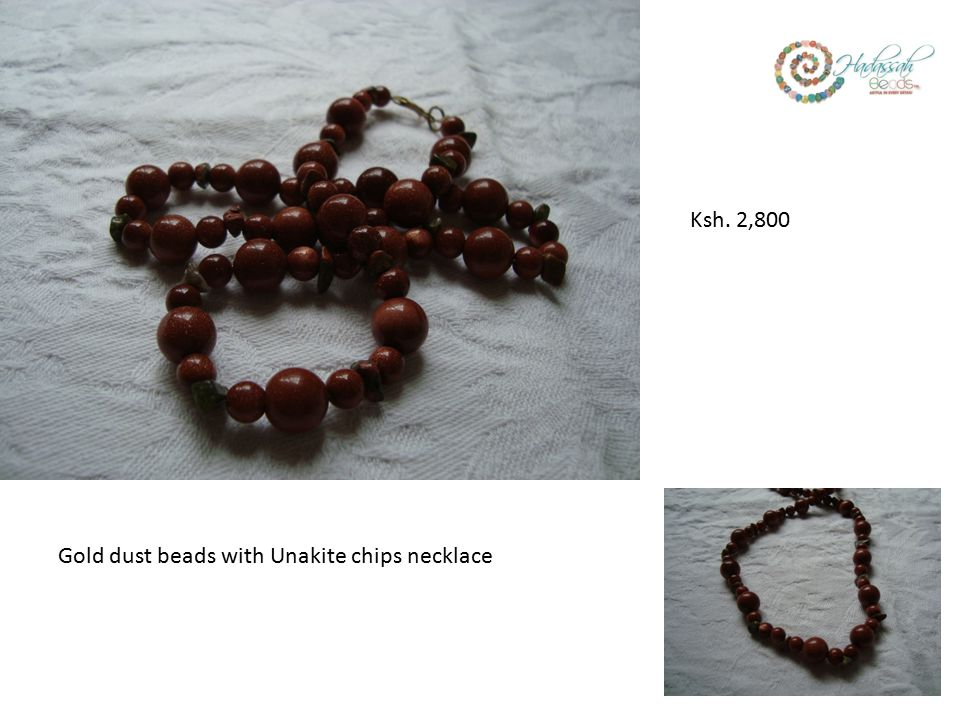 Gold dust beads with Unakite chips necklace Ksh. 2,800