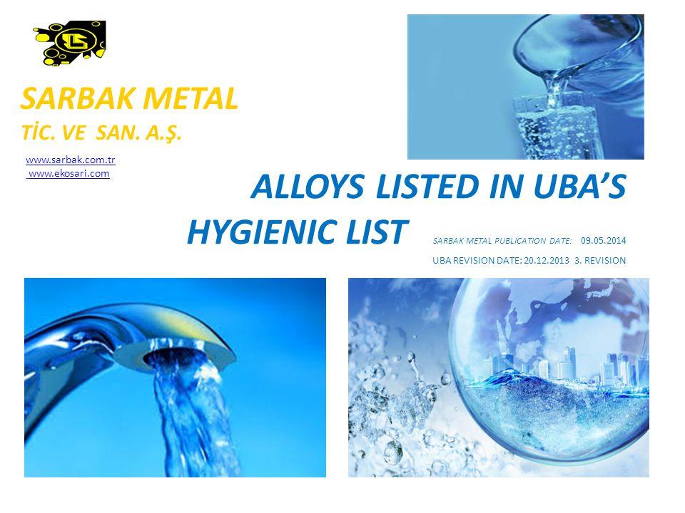 ALLOYS LISTED IN UBA'S HYGIENIC LIST SARBAK METAL PUBLICATION DATE: 09.05.2014 UBA REVISION DATE: 20.12.2013 3.