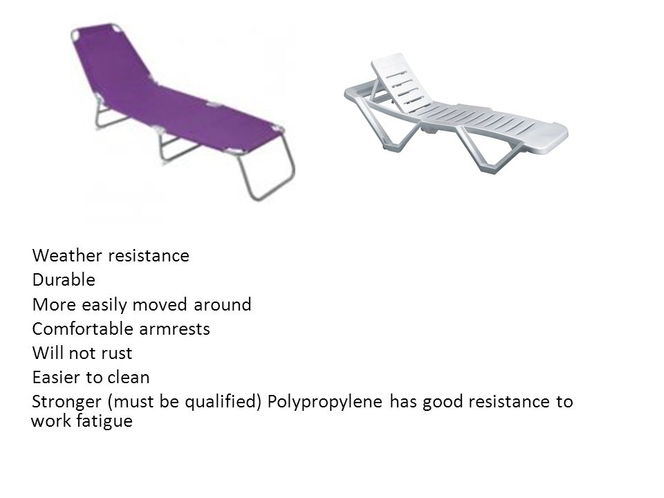 Weather resistance Durable More easily moved around Comfortable armrests Will not rust Easier to clean Stronger (must be qualified) Polypropylene has good resistance to work fatigue
